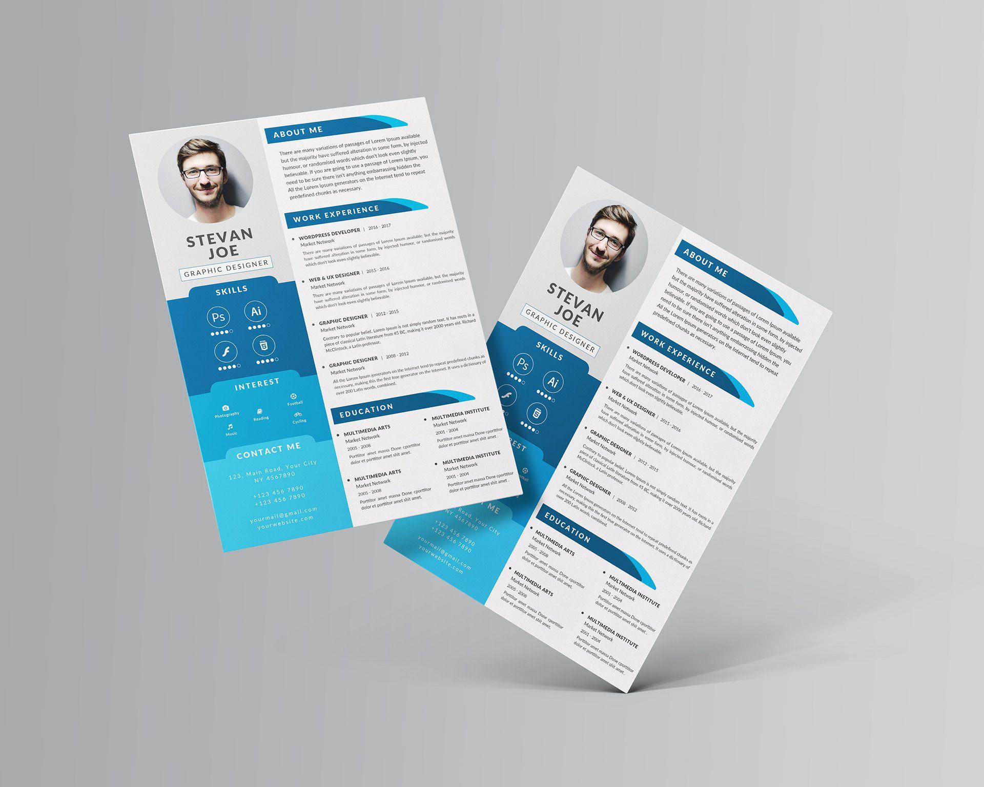 004 Impressive Photoshop Resume Template Free Psd Idea Full