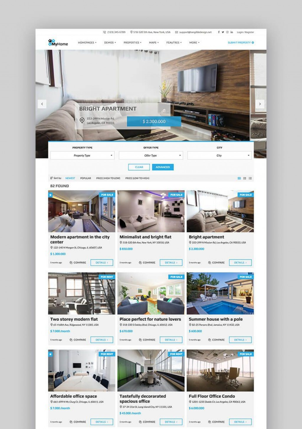 004 Impressive Real Estate Template Wordpres High Definition  Homepres - Theme Free Download RealtyspaceLarge