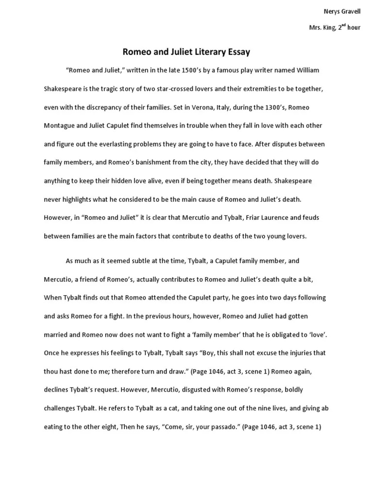 004 Impressive Romeo And Juliet Essay Idea  Who I Responsible For Juliet' Death Introduction Hook Question PdfFull