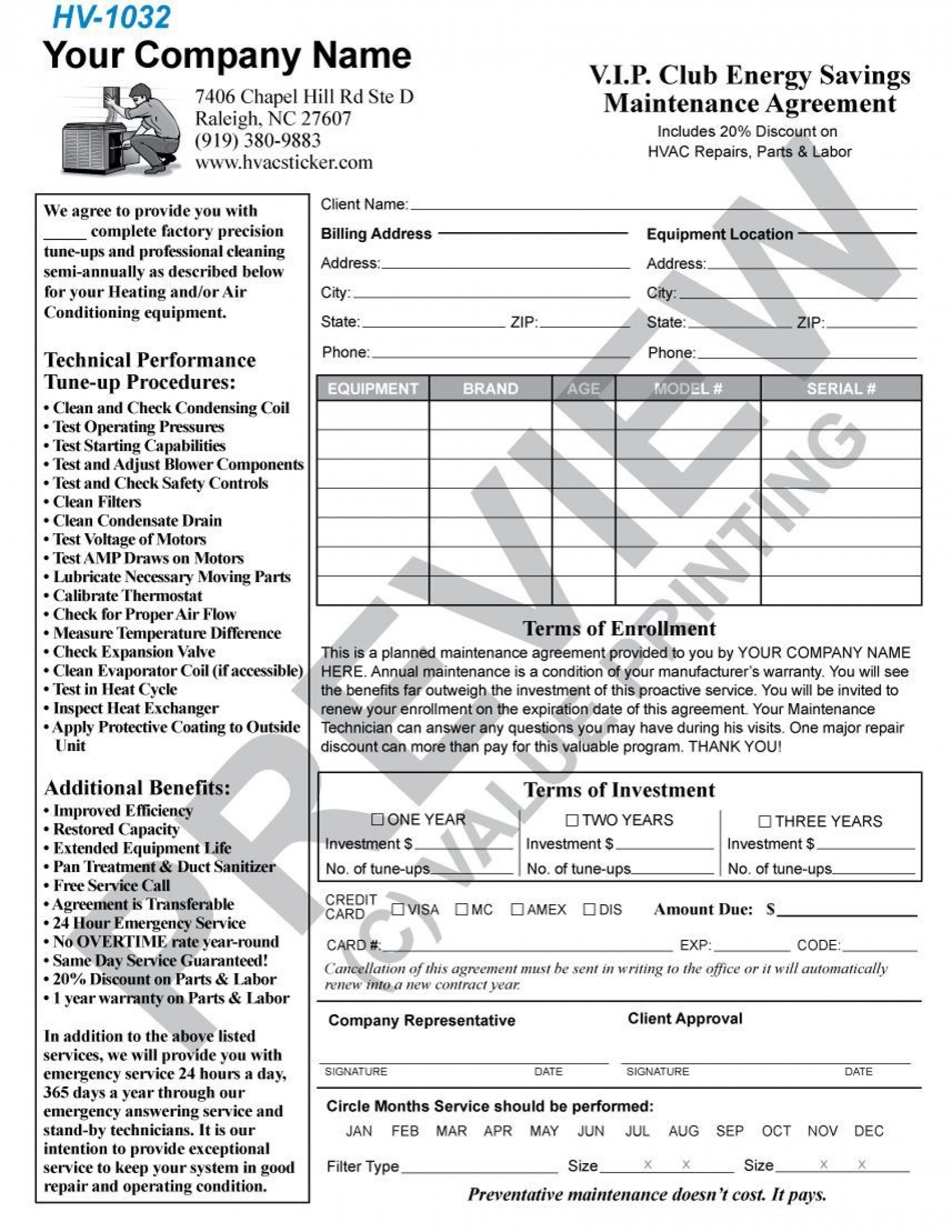 004 Incredible Commercial Hvac Service Agreement Template Picture  Maintenance Contract1920