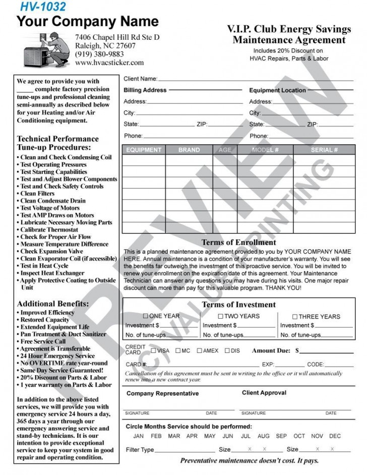 004 Incredible Commercial Hvac Service Agreement Template Picture  Maintenance Contract728