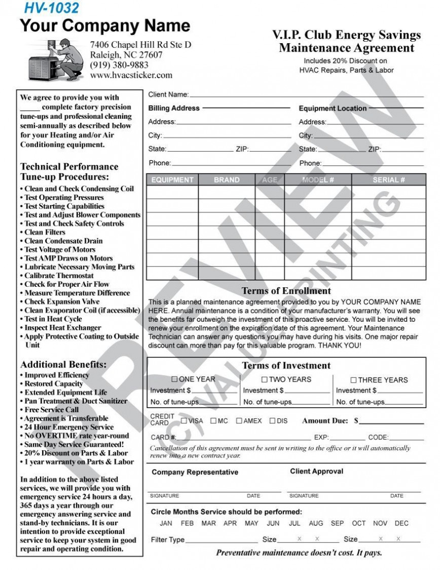 004 Incredible Commercial Hvac Service Agreement Template Picture  Maintenance Contract868