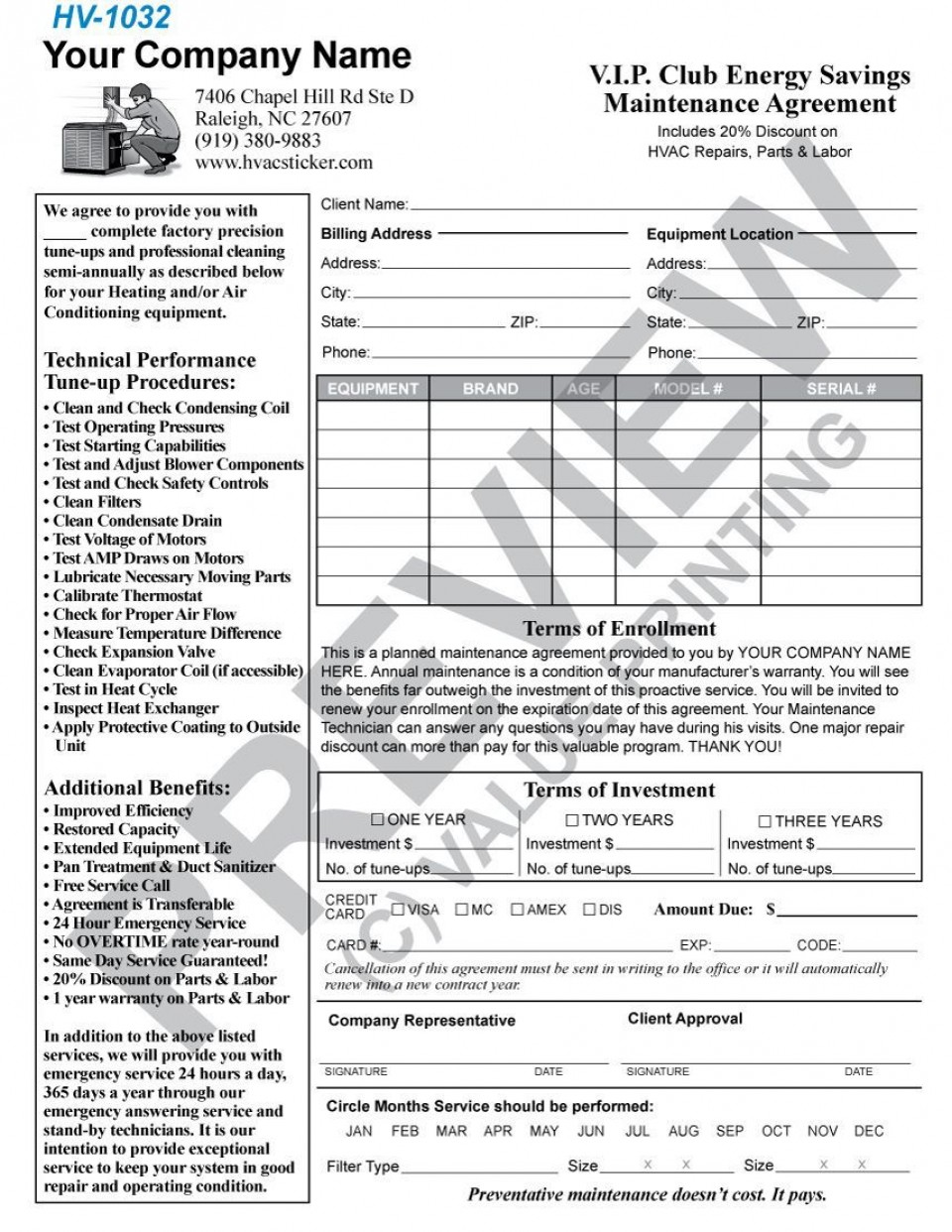 004 Incredible Commercial Hvac Service Agreement Template Picture  Maintenance Contract960