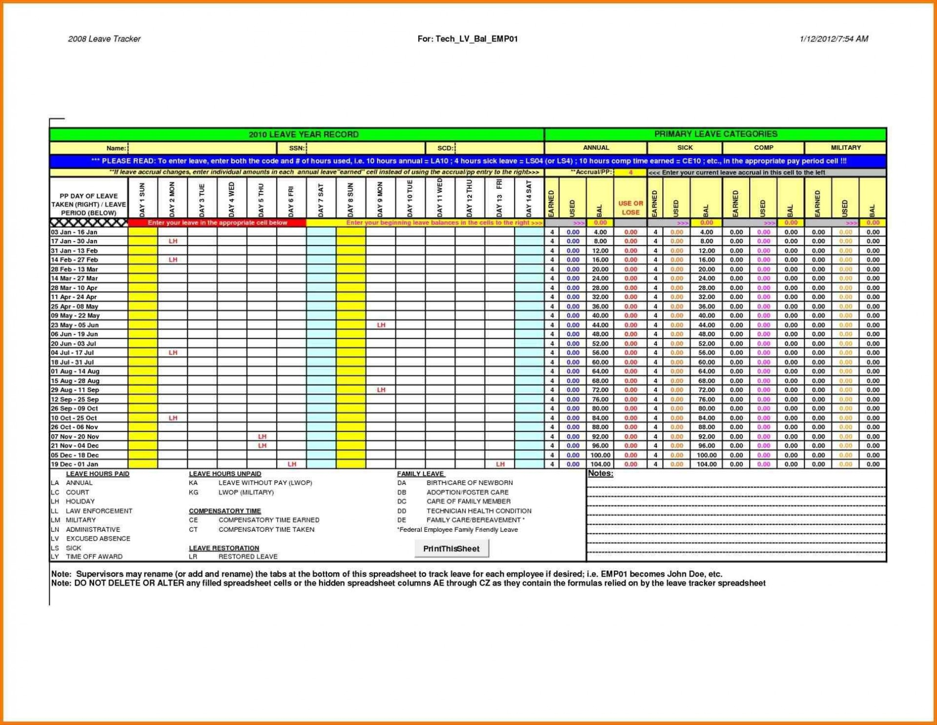 004 Incredible Employee Attendance Record Template Excel Sample  Free Download With Time1920