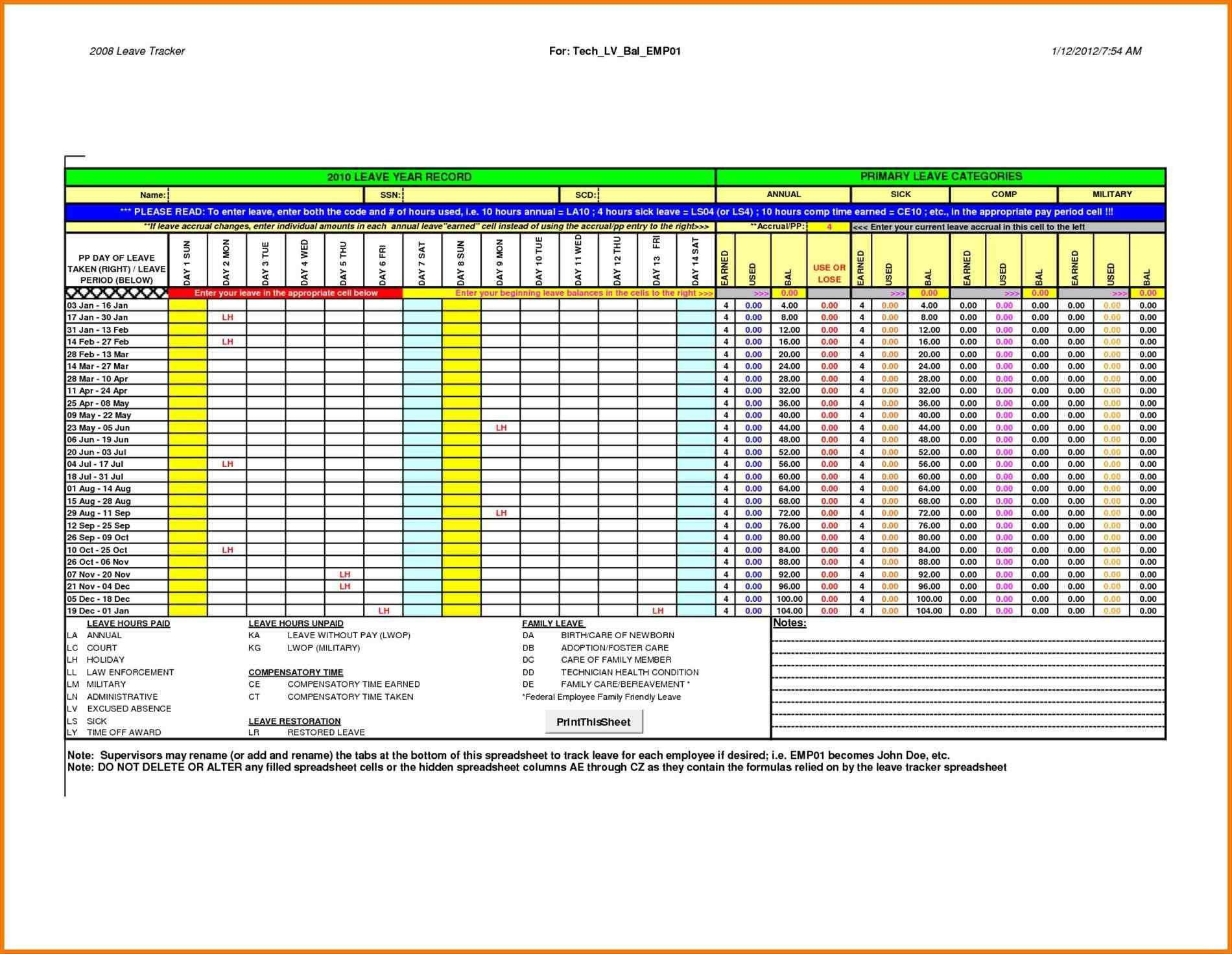 004 Incredible Employee Attendance Record Template Excel Sample  Free Download With TimeFull