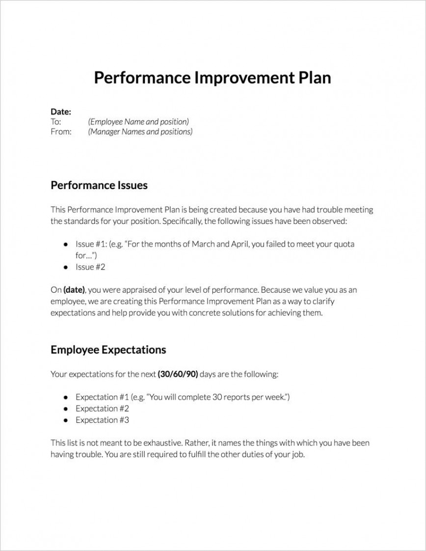 004 Incredible Employee Improvement Plan Template Image  Proces Performance Work Example