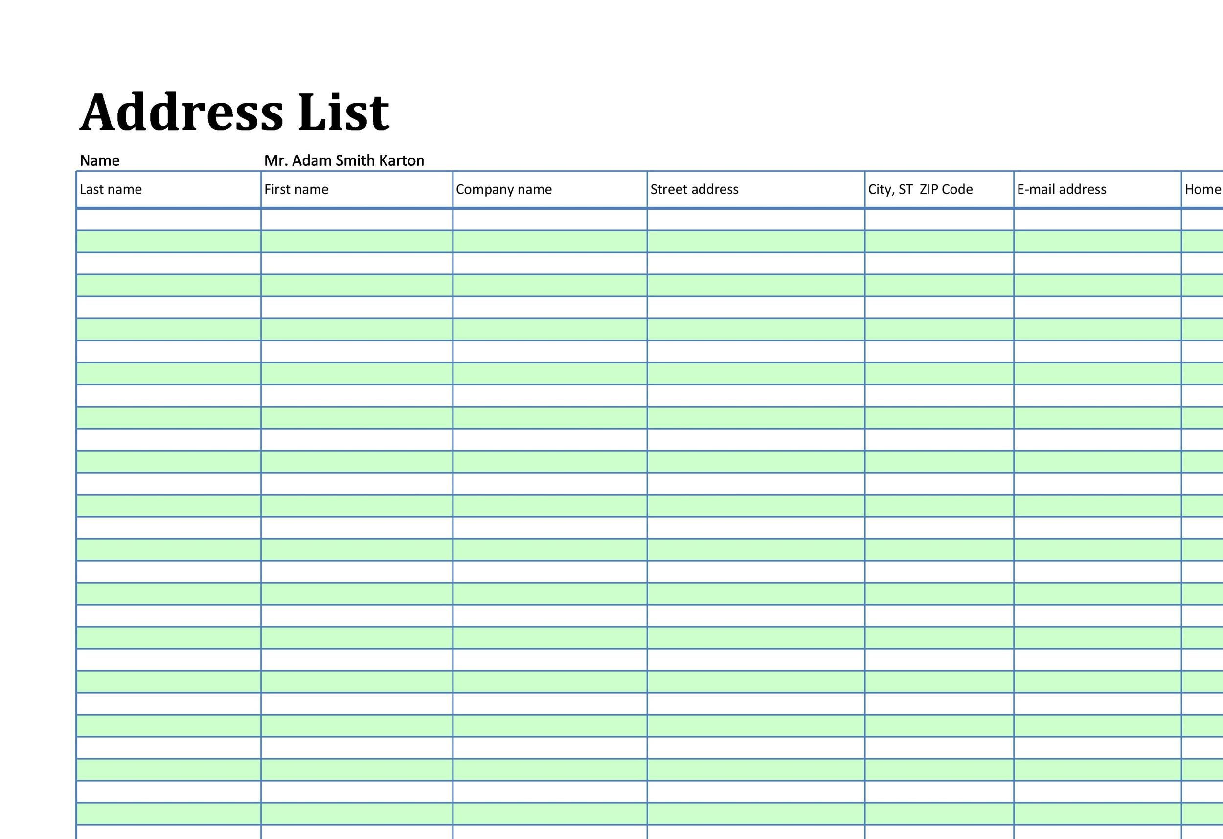 004 Incredible Excel Contact List Format Highest Quality  CustomerFull