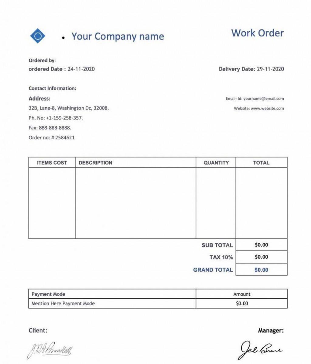 004 Incredible Excel Spreadsheet Work Order Template Example Large