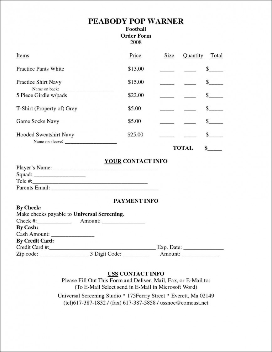 004 Incredible Free Order Form Template Word Picture  Application Registration Fundraiser