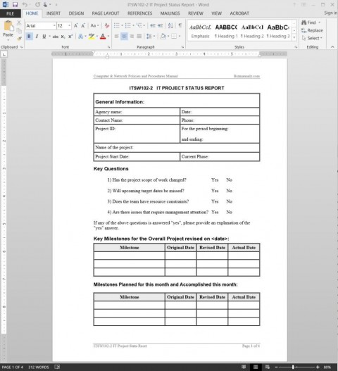 004 Incredible Project Management Weekly Statu Report Sample  Template Excel Agile480