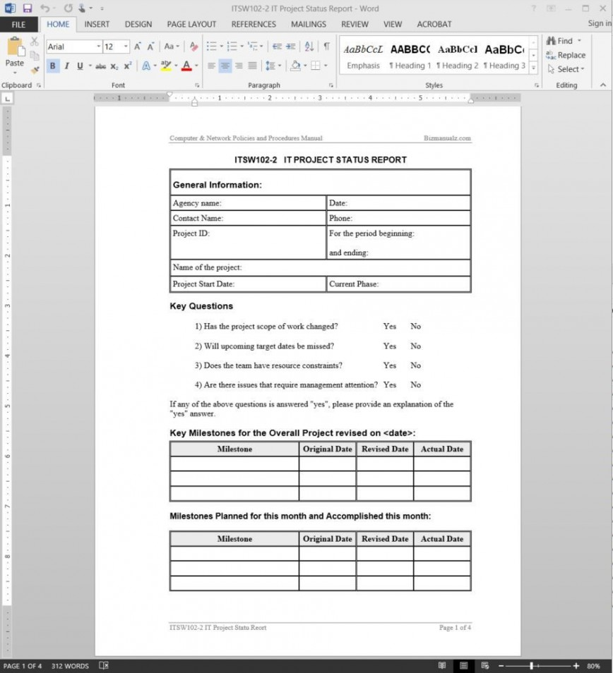 004 Incredible Project Management Weekly Statu Report Sample  Template Excel Agile868
