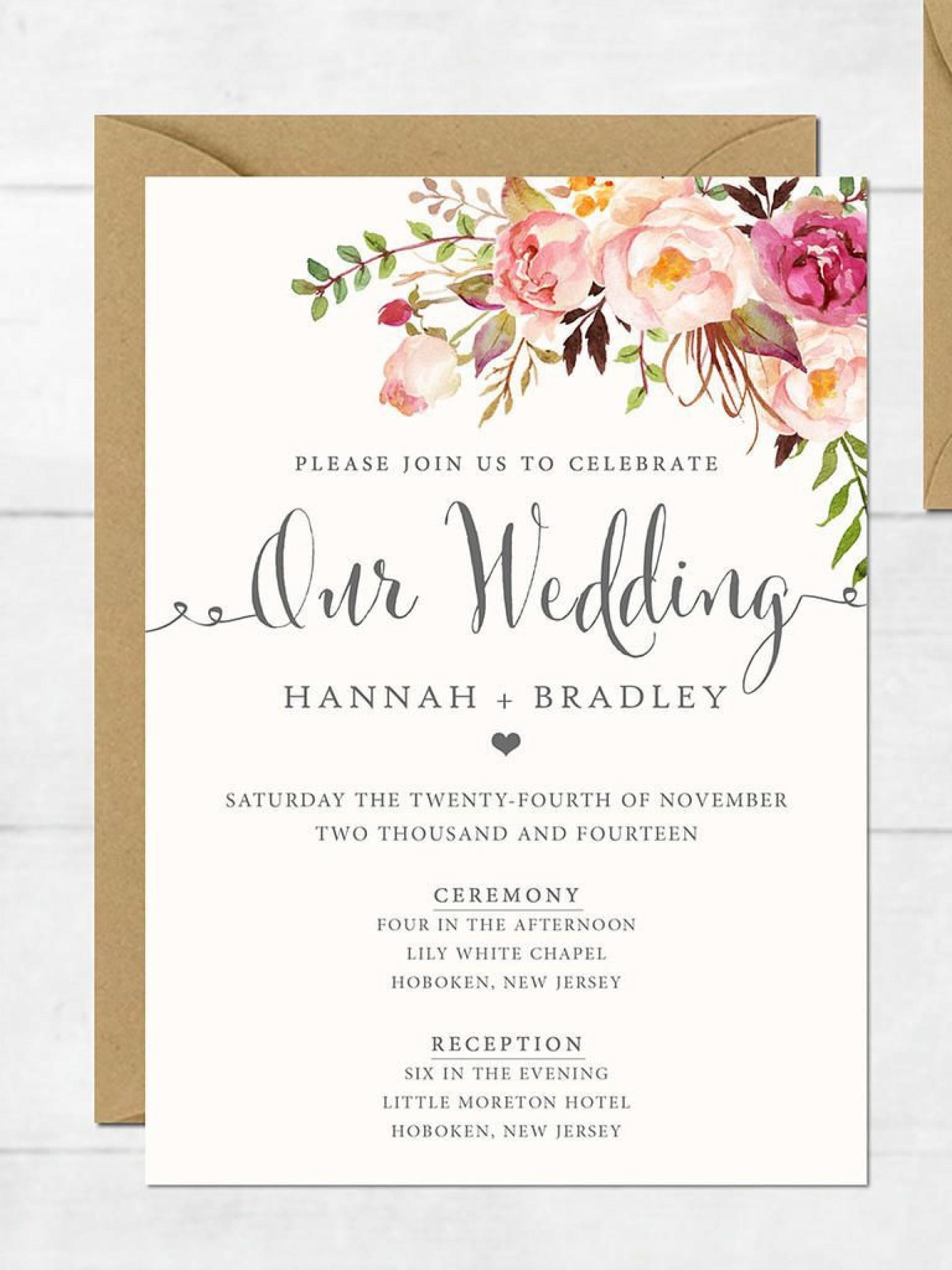 004 Incredible Sample Wedding Invitation Template  Templates Wording Card1920
