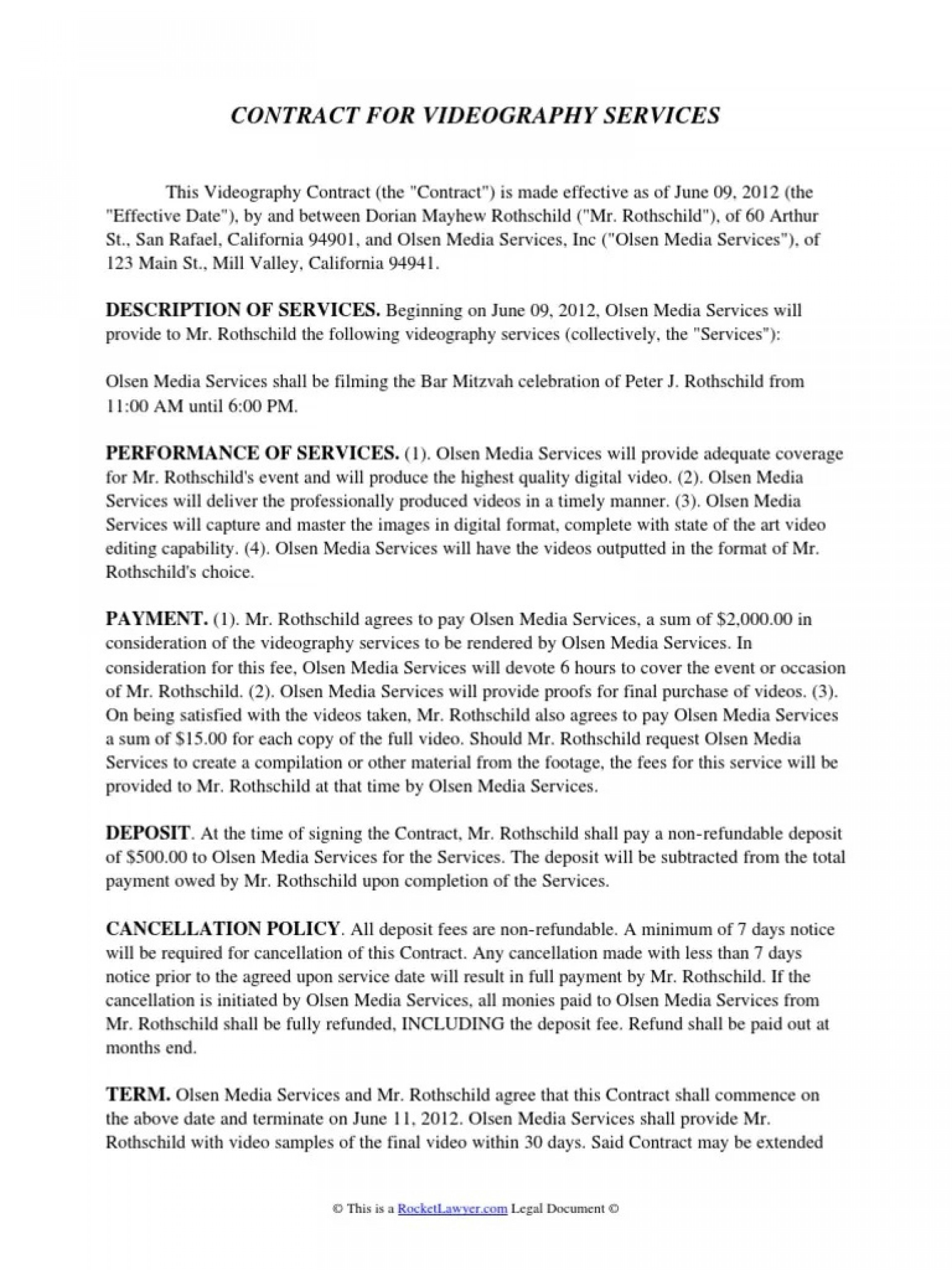004 Incredible Wedding Videography Contract Template Highest Quality  Free1920
