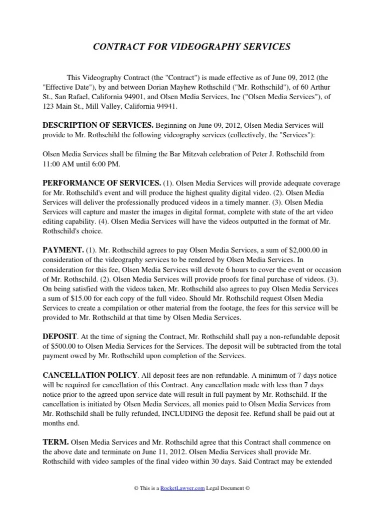 004 Incredible Wedding Videography Contract Template Highest Quality  FreeFull