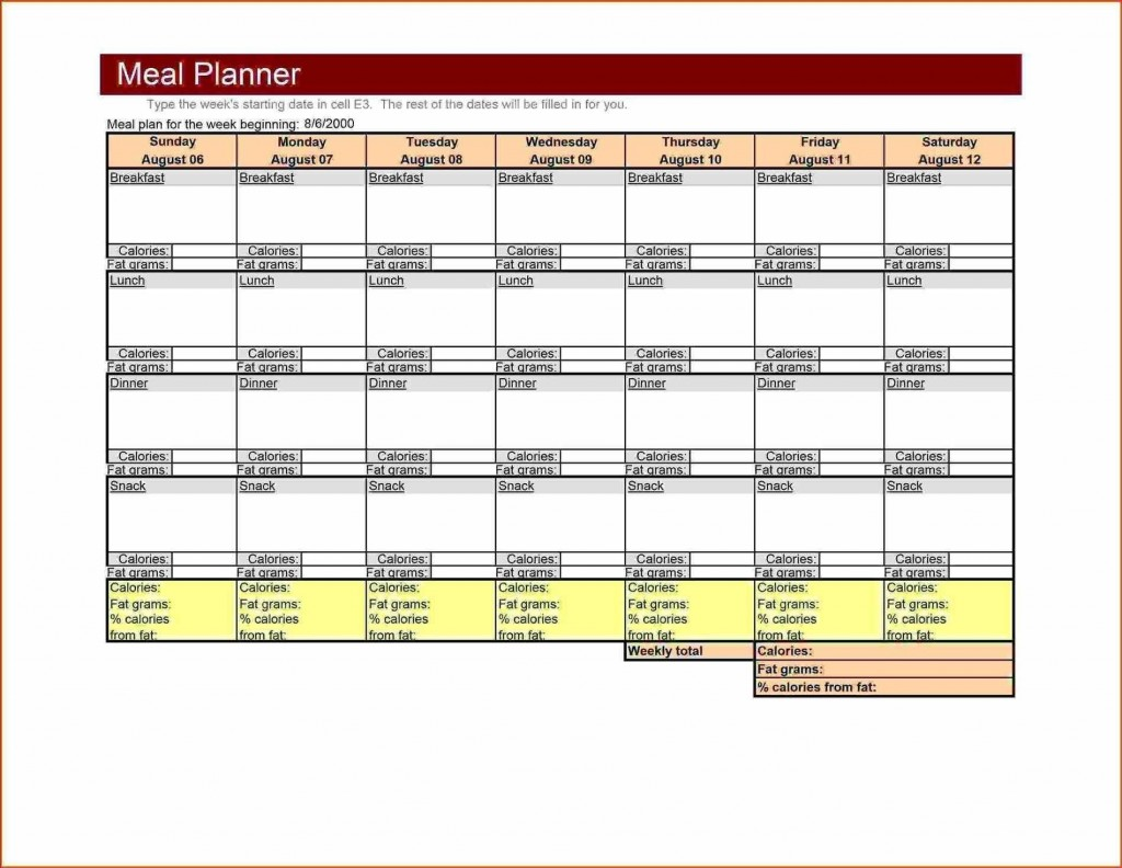 004 Incredible Weekly Meal Planner Template Excel High Def  Downloadable Plan EditableLarge