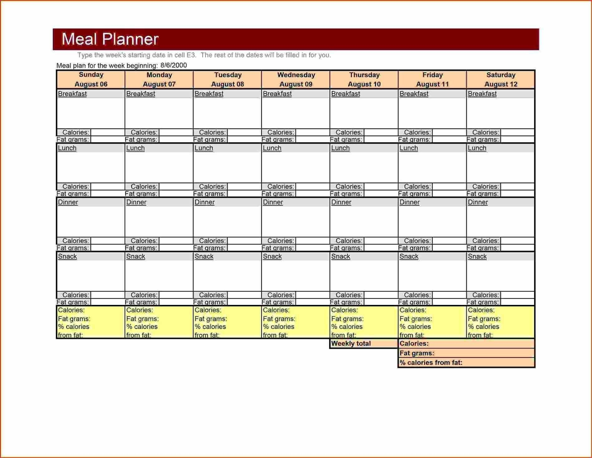 004 Incredible Weekly Meal Planner Template Excel High Def  Downloadable Plan EditableFull