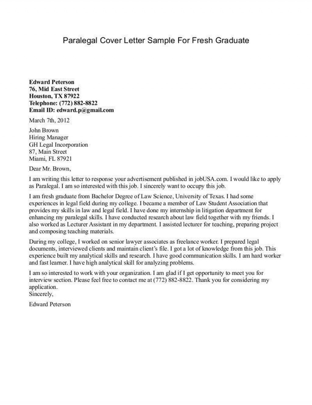 004 Magnificent Cover Letter Sample Template For Fresh Graduate In Marketing Highest Quality Large