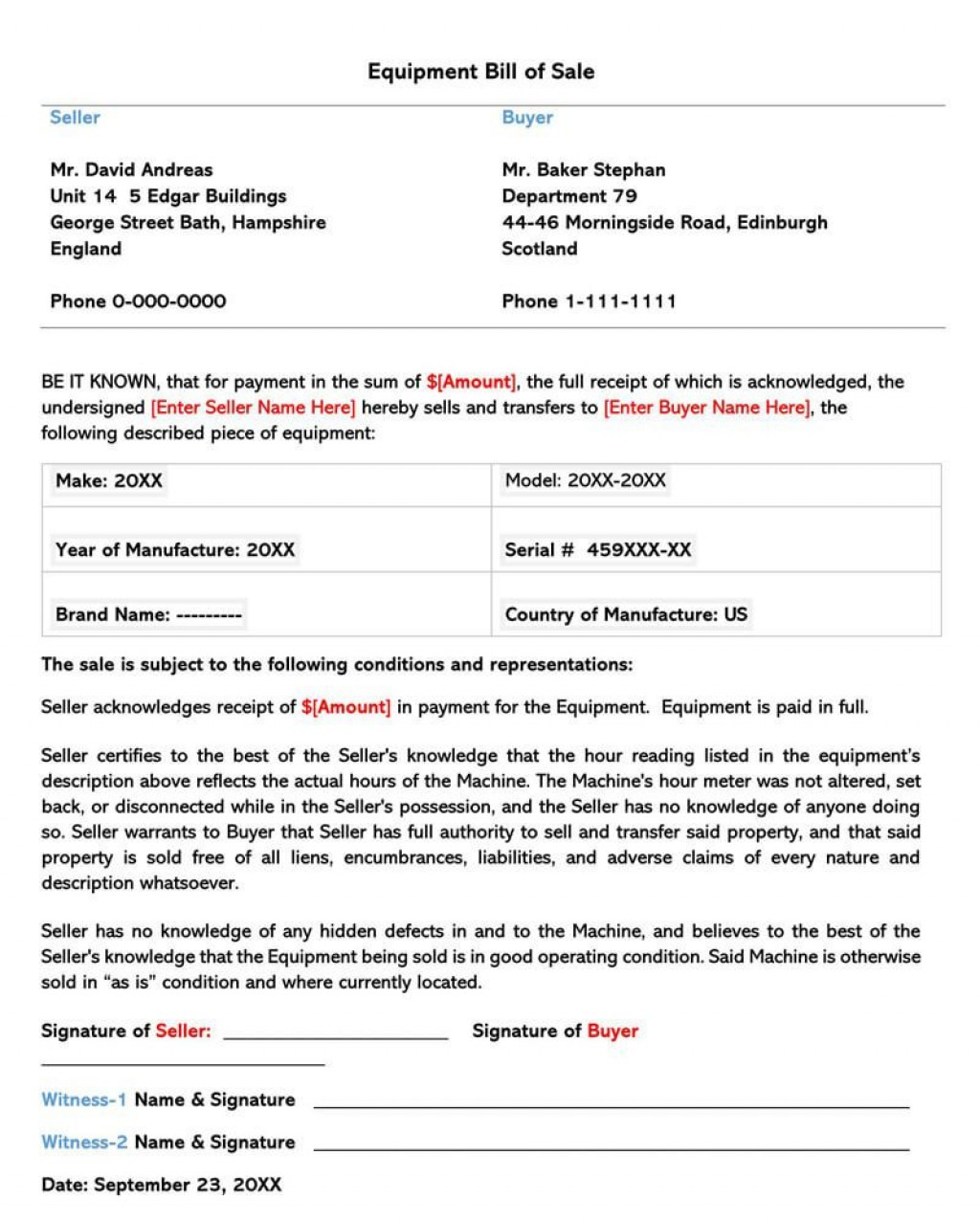 004 Magnificent Equipment Bill Of Sale Form Design  Forms Word Document Alberta Simple TemplateLarge