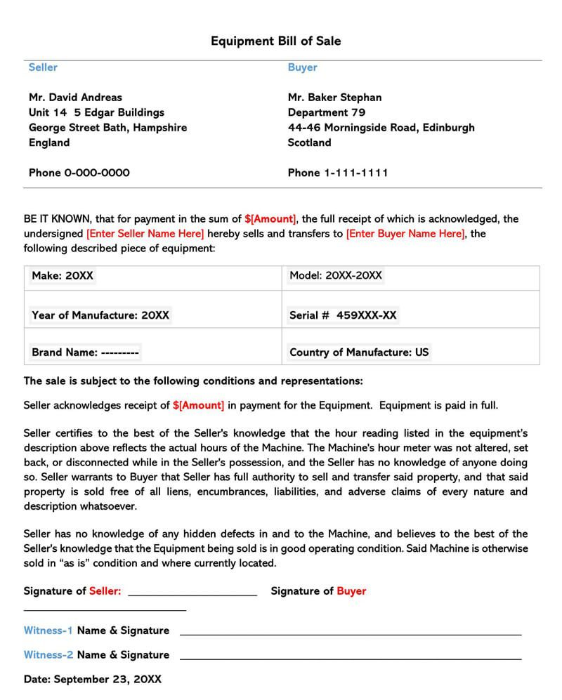 004 Magnificent Equipment Bill Of Sale Form Design  Forms Word Document Alberta Simple TemplateFull