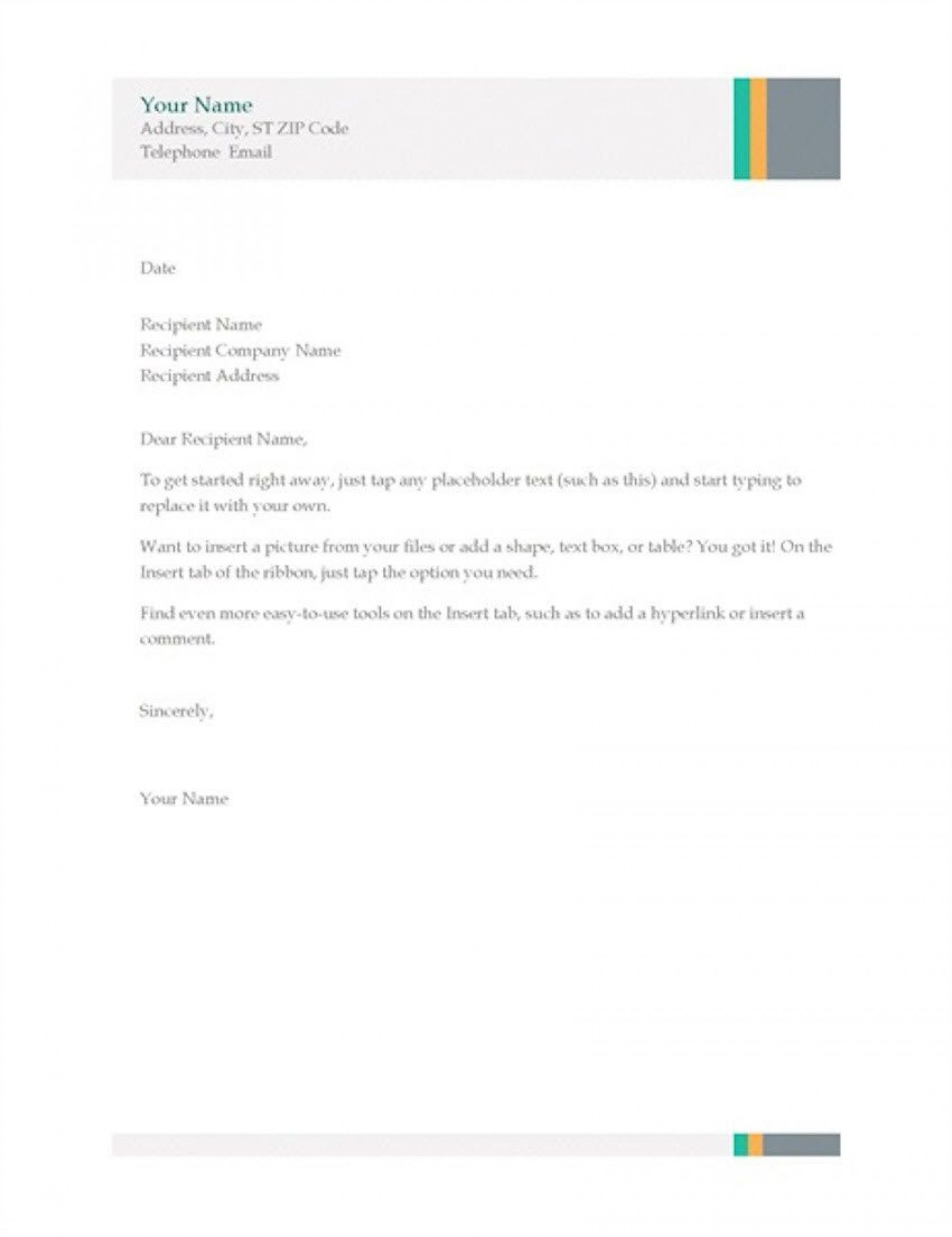 004 Magnificent Simple Letterhead Format In Word Free Download Design 1400