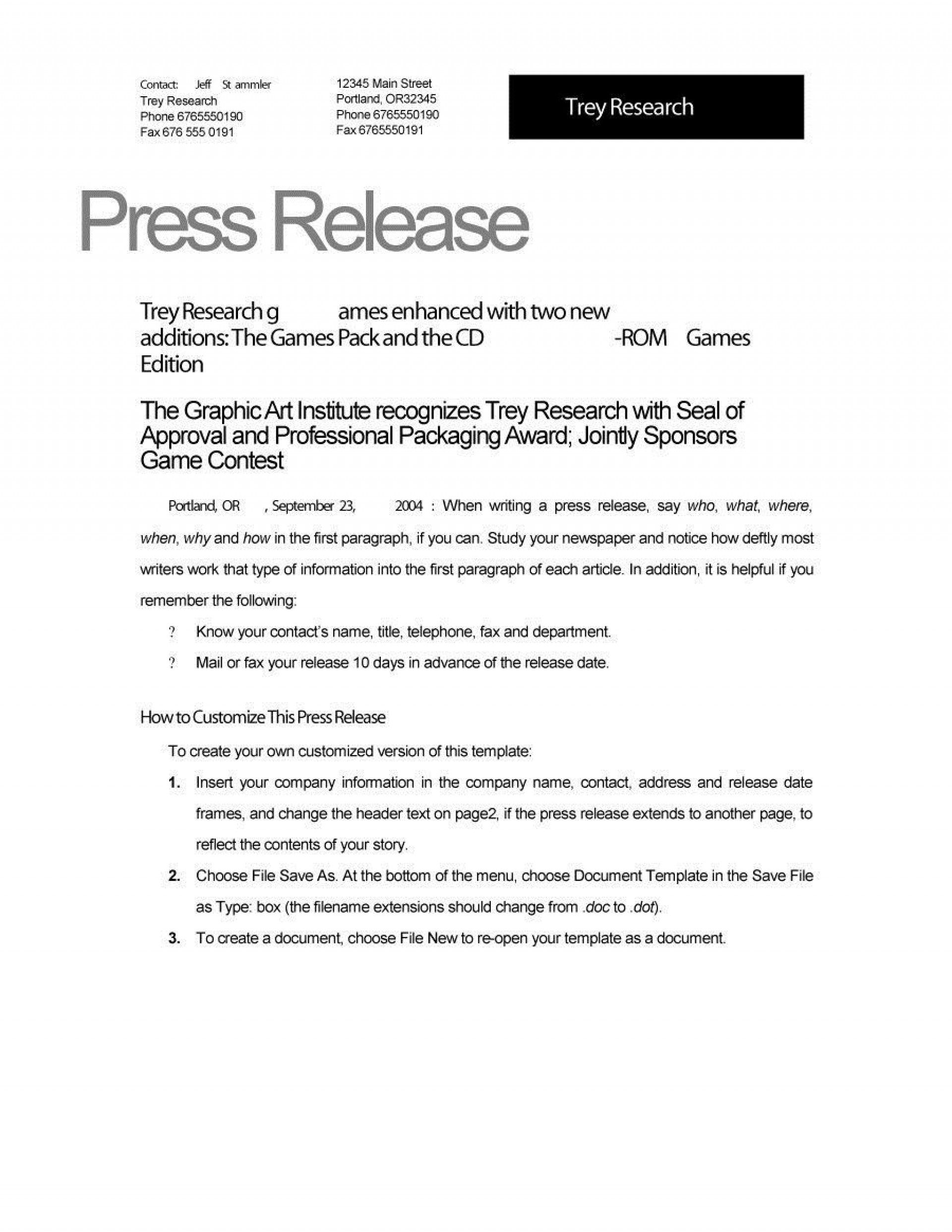 004 Magnificent Template For Pres Release Idea  Boilerplate About Event Email1920