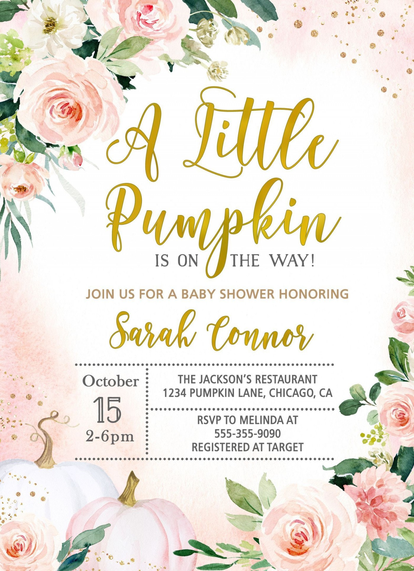 004 Marvelou Baby Shower Invitation Girl Pumpkin High Def  Little1400