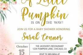 004 Marvelou Baby Shower Invitation Girl Pumpkin High Def  Pink Little