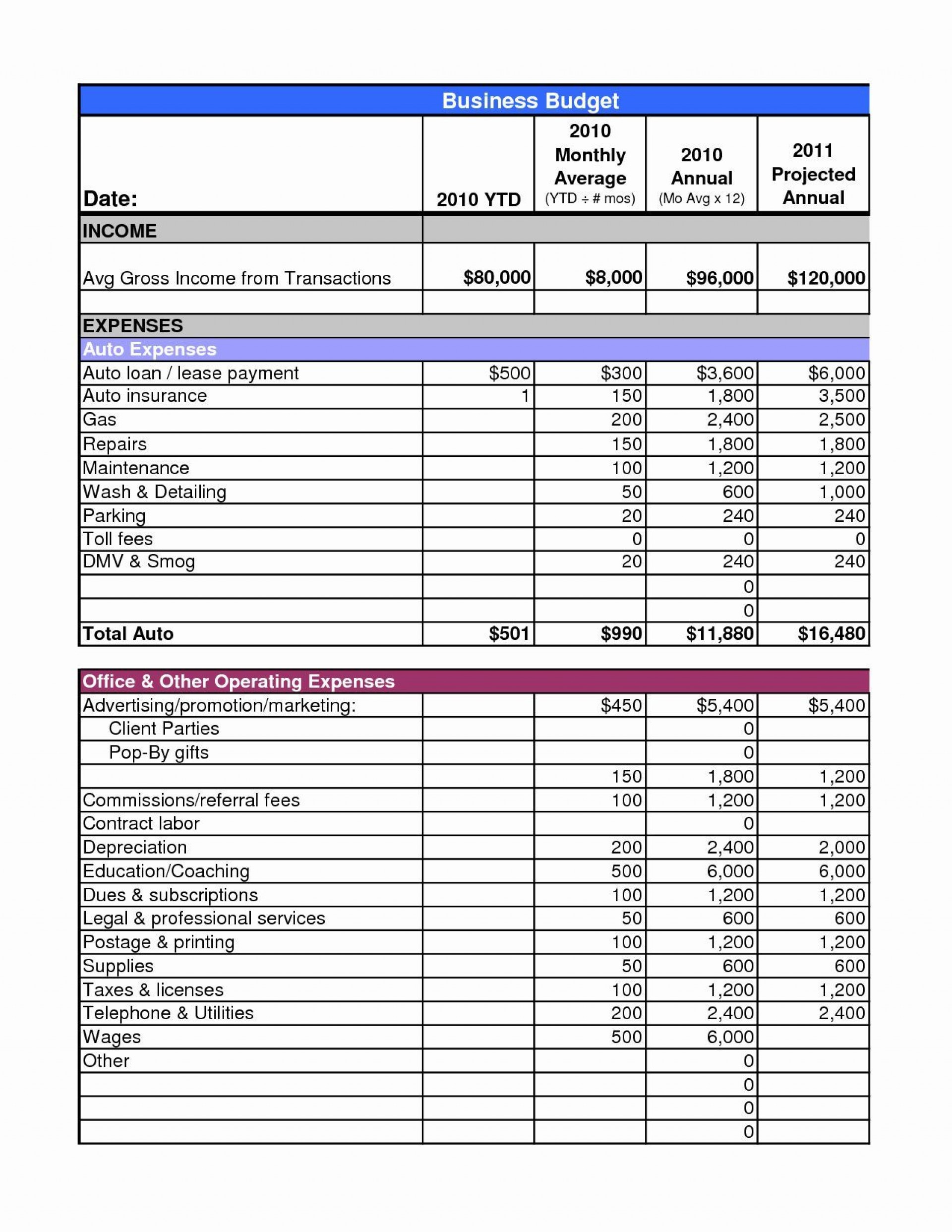 004 Marvelou Busines Plan Budget Template Highest Clarity  Free Excel1920