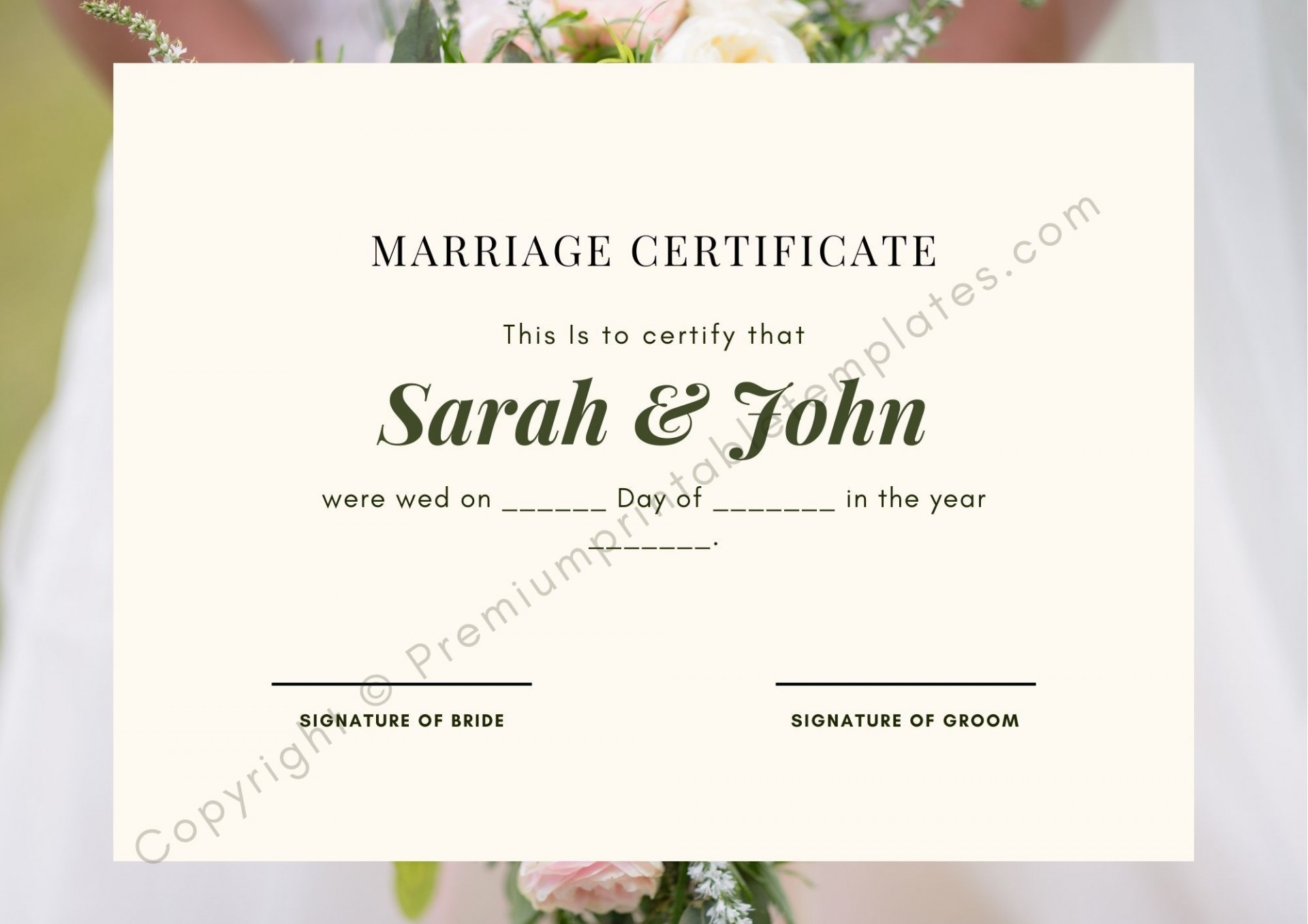 004 Marvelou Certificate Of Marriage Template Highest Quality  Word Australia1920