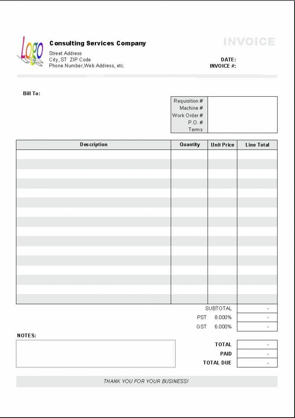 004 Marvelou Consulting Invoice Template Word Picture  Service Consultant Microsoft ContractorLarge