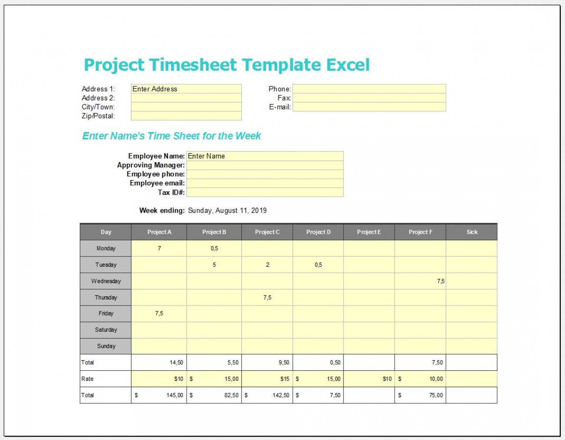 004 Marvelou Excel Timesheet Template With Task Example  Tasks Free1920