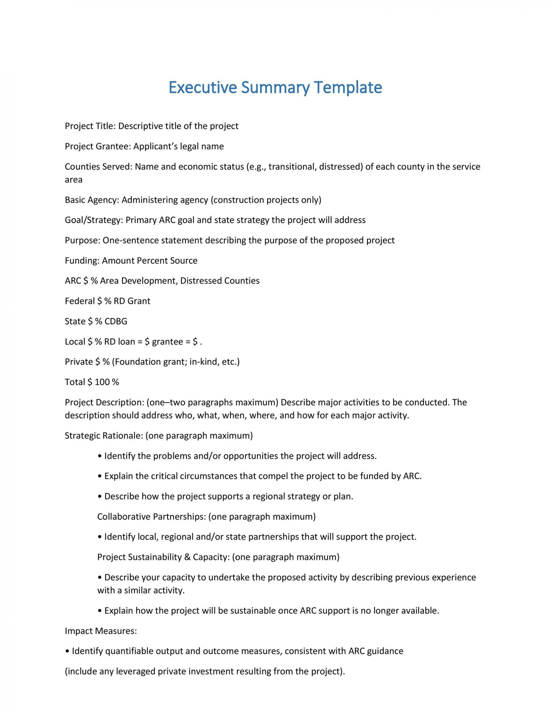 004 Marvelou Executive Summary Template Doc Highest Clarity  Document Example Google1920