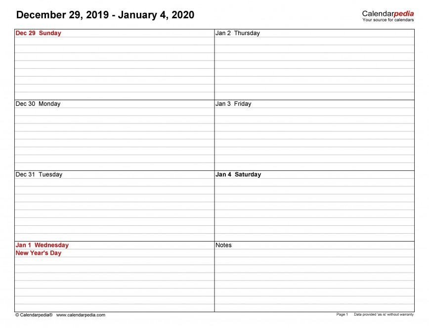 004 Marvelou Weekly Calendar Template 2020 Design  Appointment Printable Print Free Download