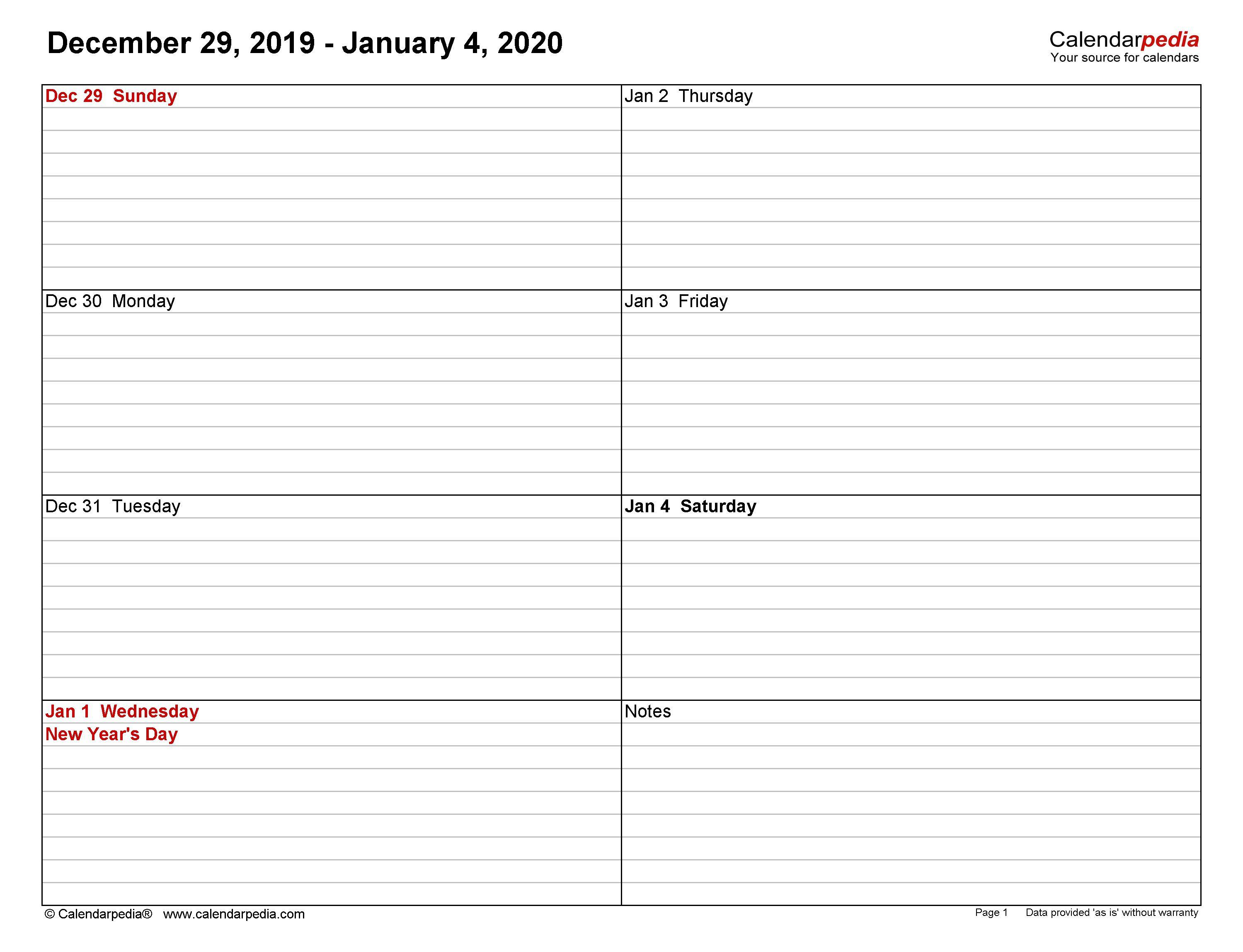 004 Marvelou Weekly Calendar Template 2020 Design  Printable Blank FreeFull