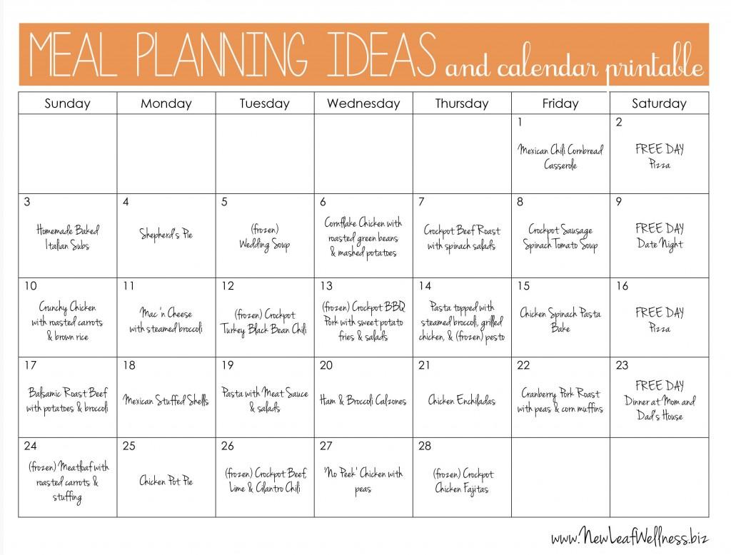 004 Marvelou Weekly Meal Plan Example Sample  Examples 1 Week Template OneLarge