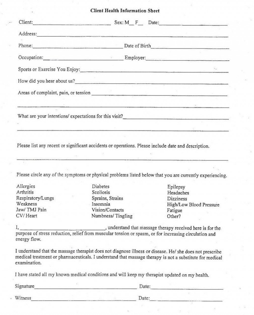 004 Outstanding Client Info Form Template Sample  Free Photography Information DownloadLarge