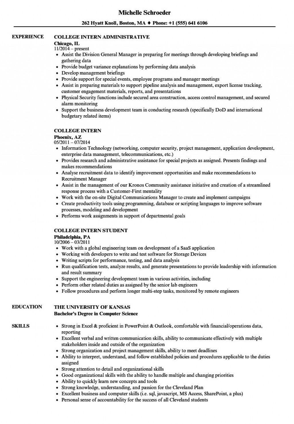 004 Outstanding College Internship Resume Template Example  Student Job For DownloadLarge