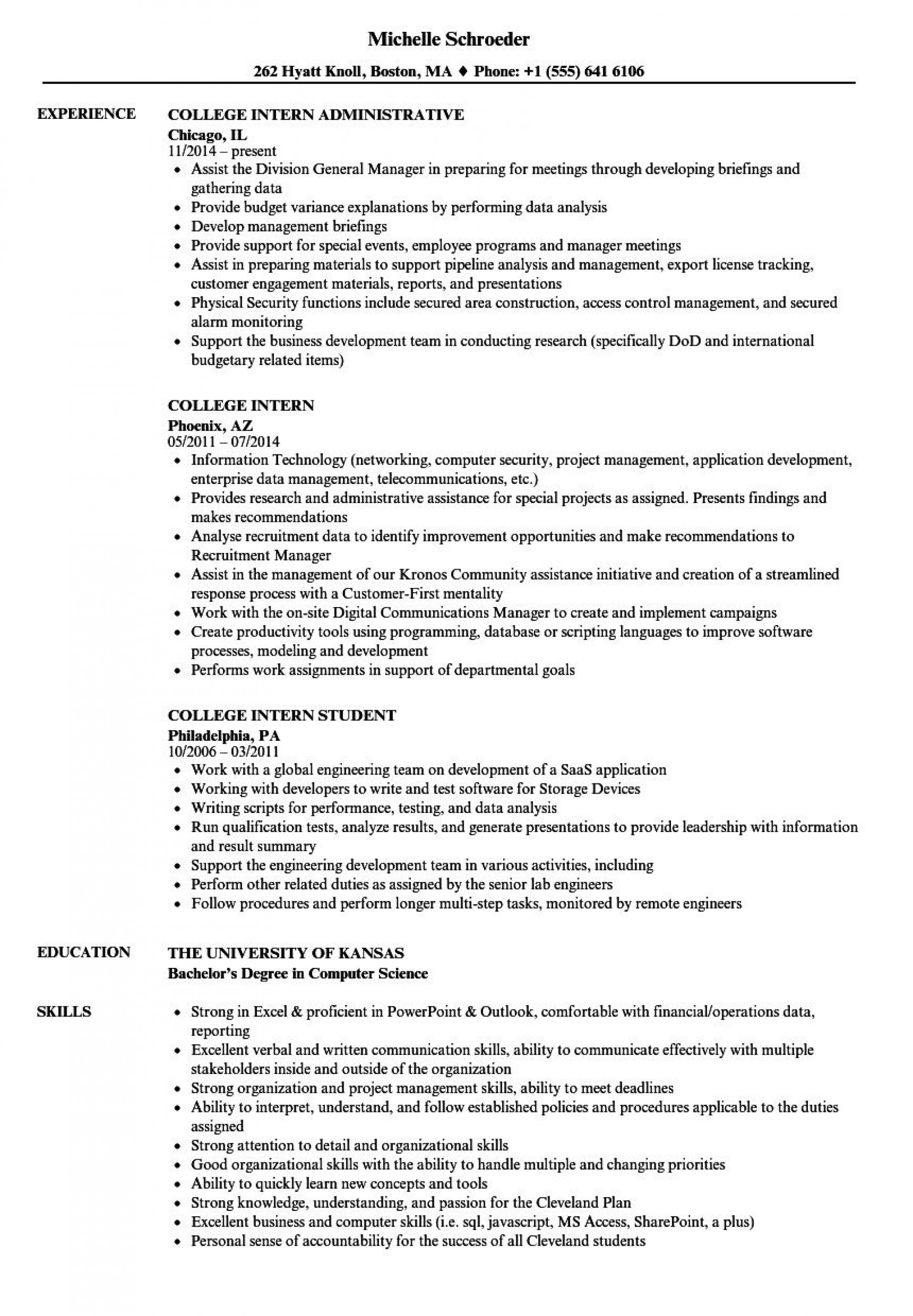 004 Outstanding College Internship Resume Template Example  Student Job For Download1920