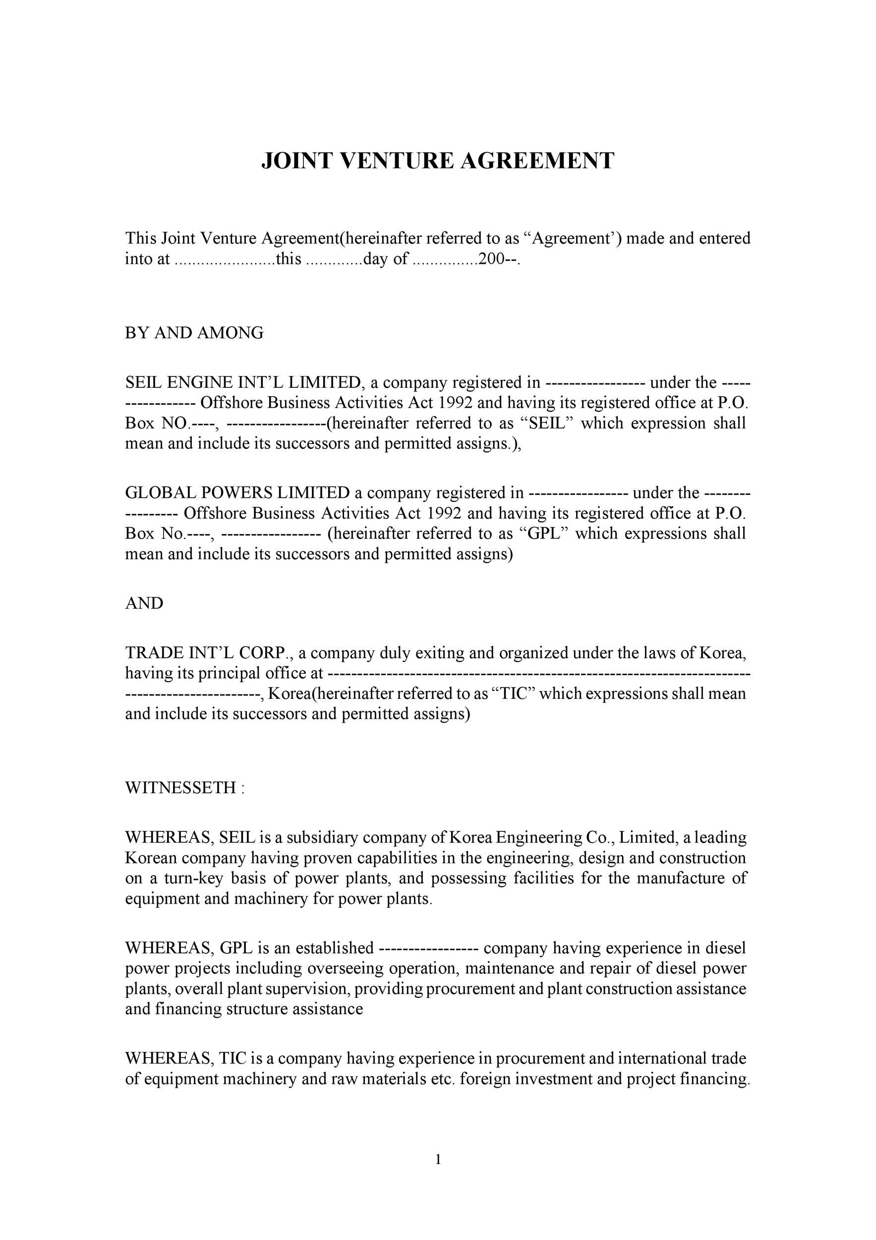 004 Outstanding Contractual Joint Venture Agreement Template Uk Image Full