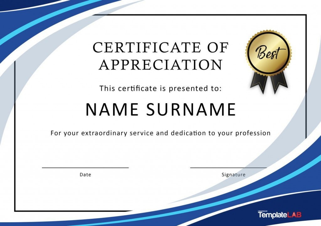 004 Outstanding Free Certificate Template Word Download Concept  Of Appreciation Doc Award BorderLarge