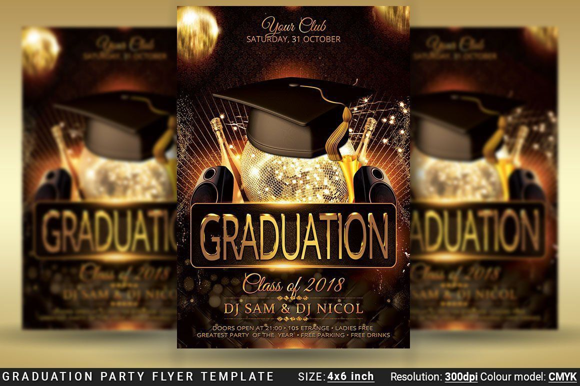 004 Outstanding Graduation Party Flyer Template Free Psd Photo Full