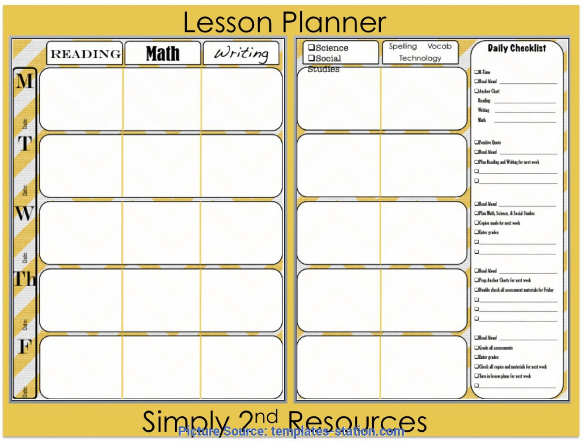004 Outstanding Lesson Plan Book Template Highest Quality  Pdf Free Teacher1920