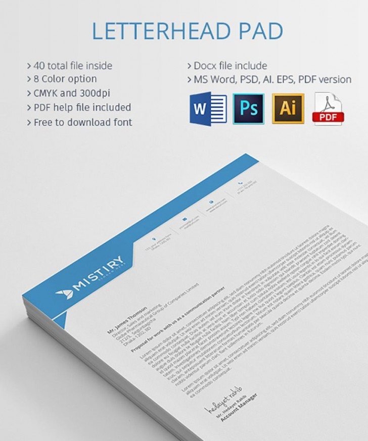 004 Outstanding Letterhead Template Free Download Ai Highest Quality  File728