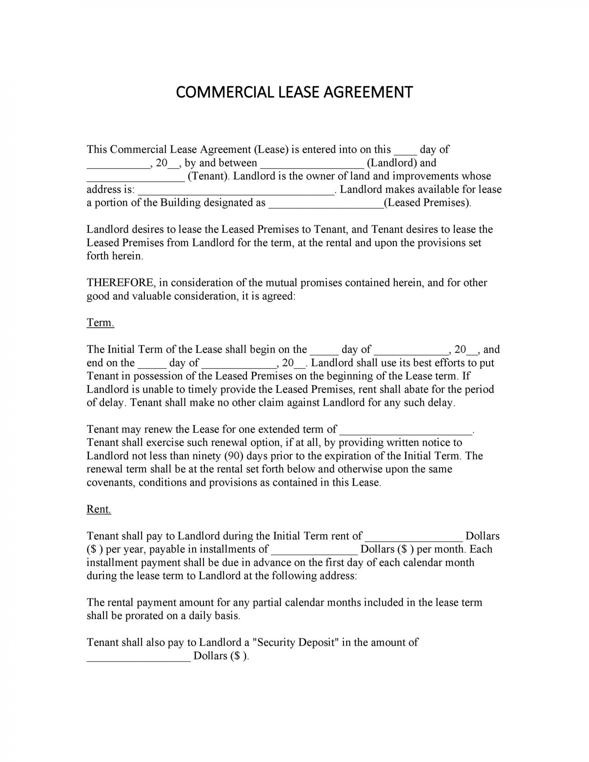 004 Outstanding Office Lease Agreement Template Highest Quality  Free Property Word1920