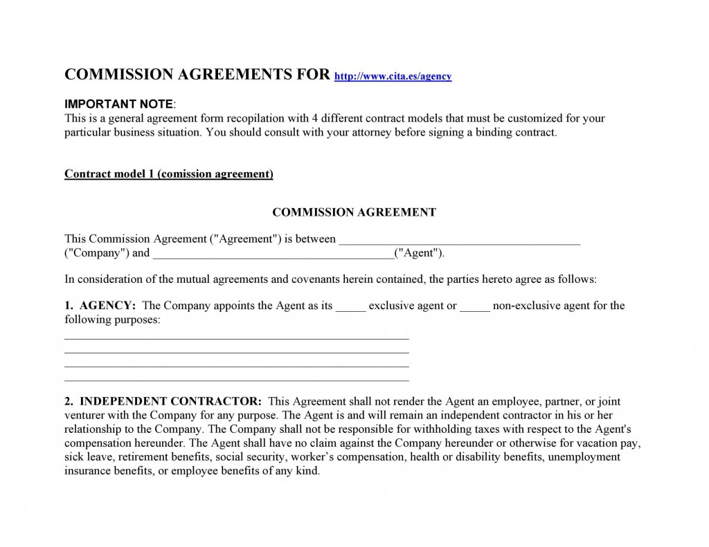 Commission Contract Template Free from www.addictionary.org
