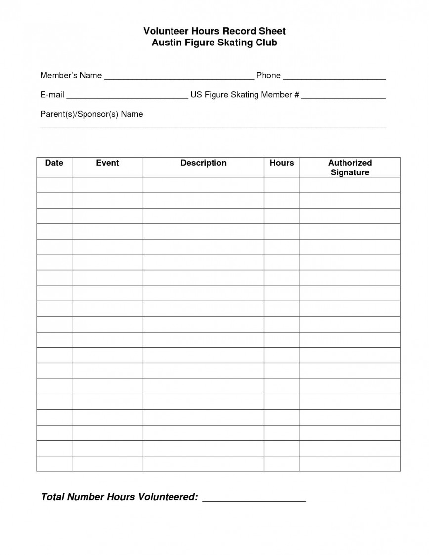 004 Outstanding Volunteer Hour Form Template High Def  Student Service