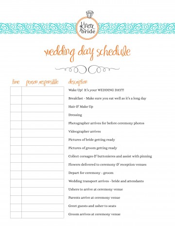 004 Outstanding Wedding Day Schedule Template Picture  Excel Editable Timeline Free Word360