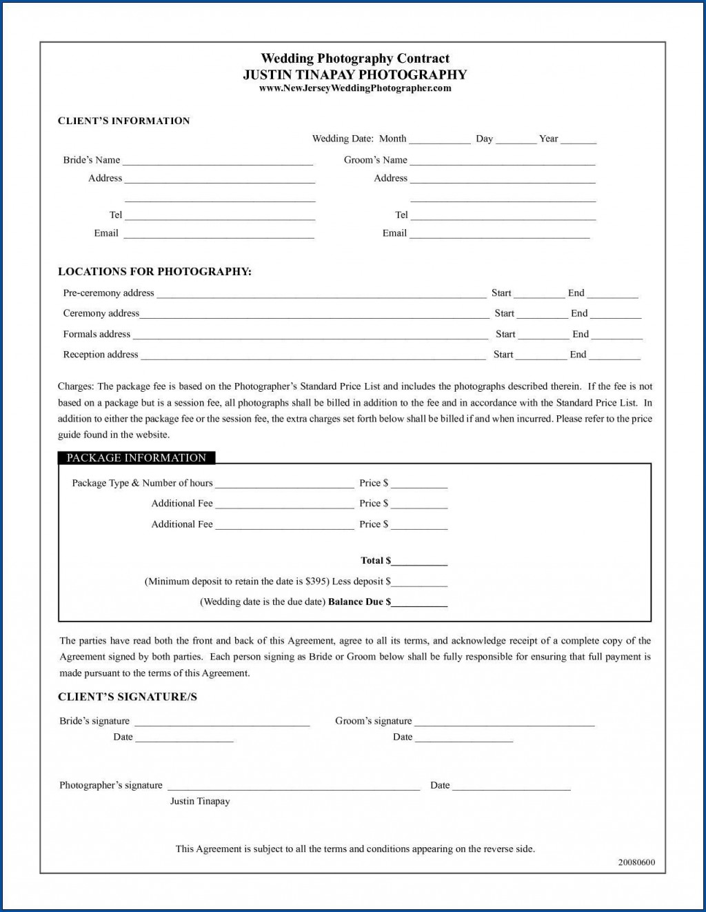 004 Outstanding Wedding Photography Contract Template Canada Example Large