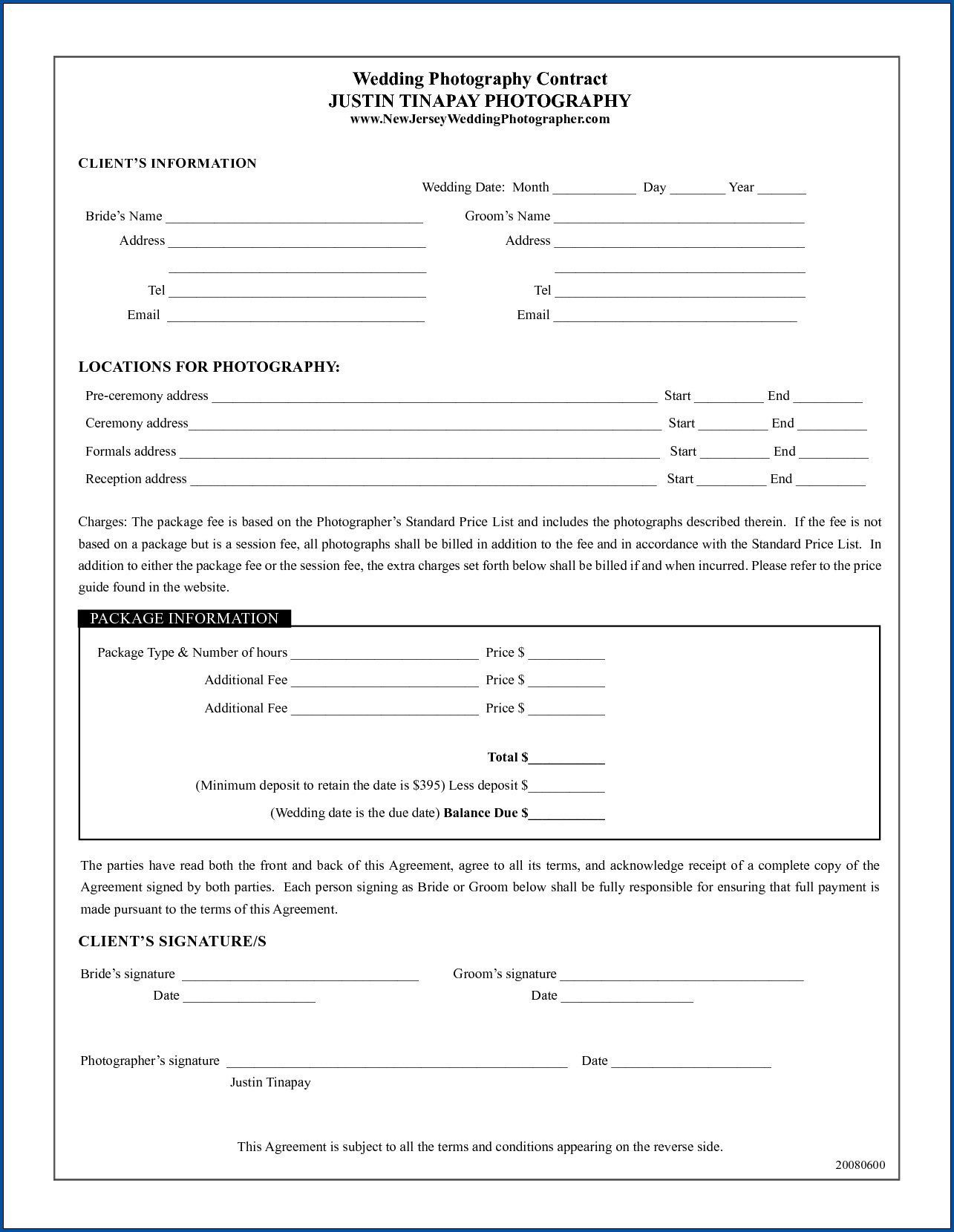 004 Outstanding Wedding Photography Contract Template Canada Example Full