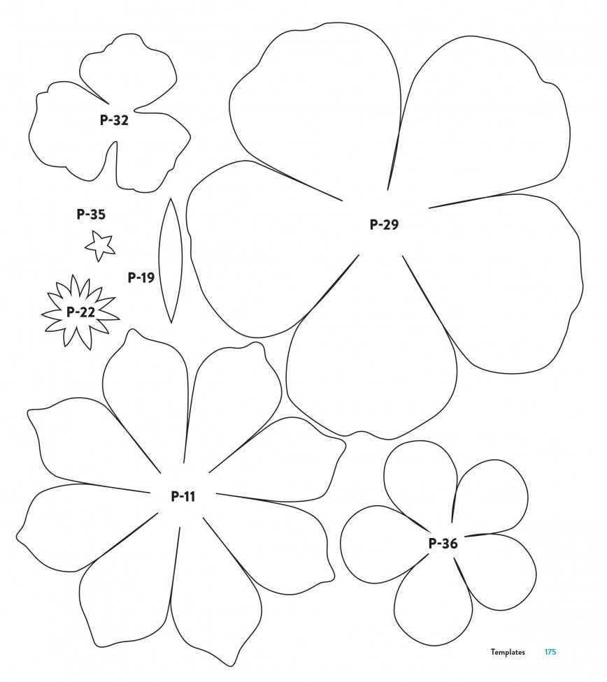 004 Phenomenal Downloadable Free Printable Paper Flower Template Concept  Templates